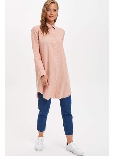 DeFacto Uzun Gömlek Tunik Pembe